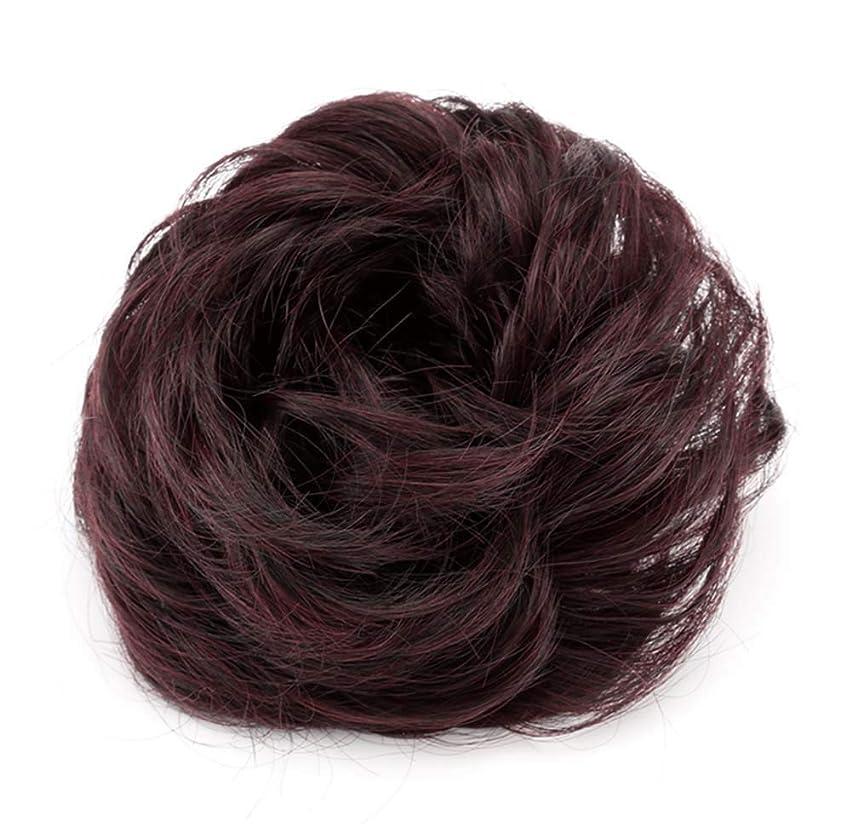 独特の火山学者信条弾性ヘアバンド短い髪型ツール偽の髪のバンズ結婚式ヘアピース(ワインレッド)