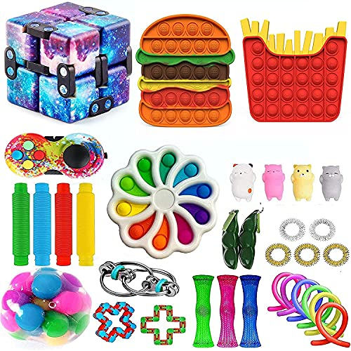 Fidget Toy Pack 30 PCS Sensory Fidget Toys Packs with Simple Dimple, Fidget Pack Set for Kids Adults, Fidget Toys Pack Hand Toys Stress Anxiety Relief Toys (R)