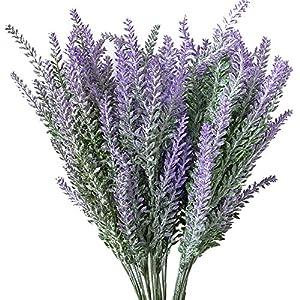 Evoio Artificial Flocked Lavender Bouquet, DIY Bridle Flowers Arrangements Home Kitchen Garden Office Wedding Decor Floral-Purple