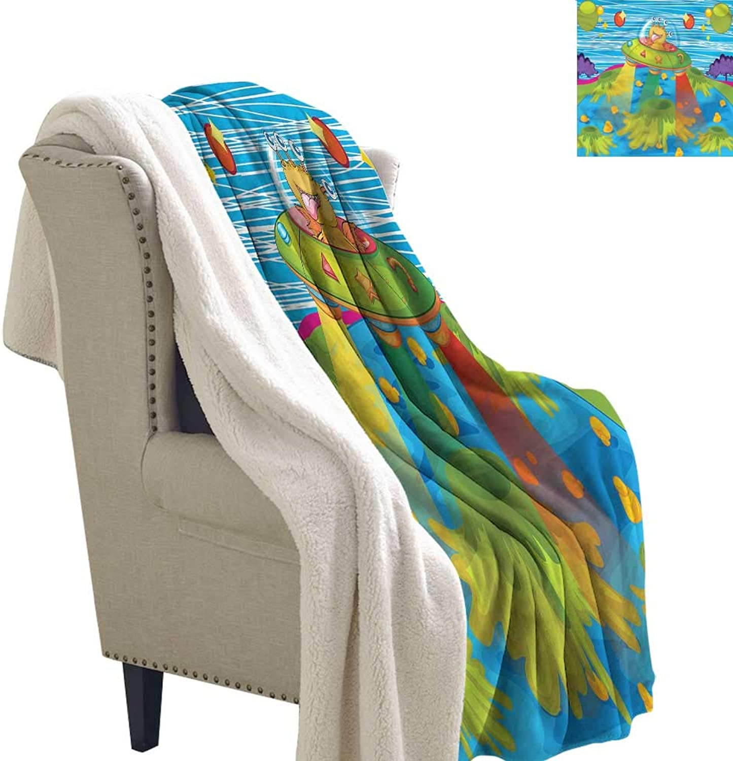 Beihai1Sun Outer Space Cozy Flannel Blanket for Kids in Spaceship Bed Cover 60x32 Inch