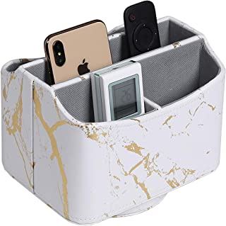 UnionBasic 360 Degrees Rotatable Remote Control/Controller Organizer, Spinning TV Guide/Mail/Media Desktop Organizer Caddy Holder, PU Leather in Marble White with Golden Pattern