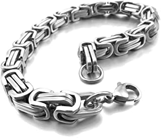 8mm Wide 316L Stainless Steel Bracelet Byzantine Link Chain Bracelet for Men Women Boys Water Resistance (5 Colors - Silver Black Gold Silver and Silver and Gold, 4 Lengths - 7.5