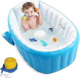 ベビーバス 赤ちゃんお風呂 ふかふかベビーバスタブ 対象年齢0ヶ月~36ヶ月 空気入れ付き 98*65*28cm ブルー