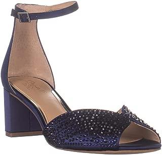 Badgley Mischka Jewel Sycamore Ankle Strap Sandals, Navy Satin