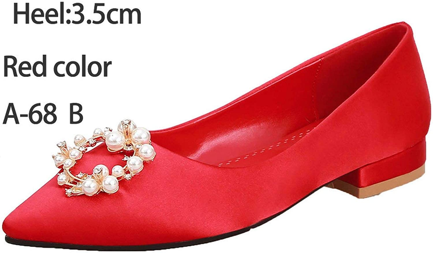 FINDYOU Women shoes Pumps Wedding Party shoes Thick Heel Pointed Toe Prom Dancing shoes Crystal Bride shoes,3.5cm Red1 B,9