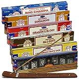 Satya Incense Sticks Variety Pack #3 And Incense Stick Holder Bundle With 6 Most Popular Fragrances