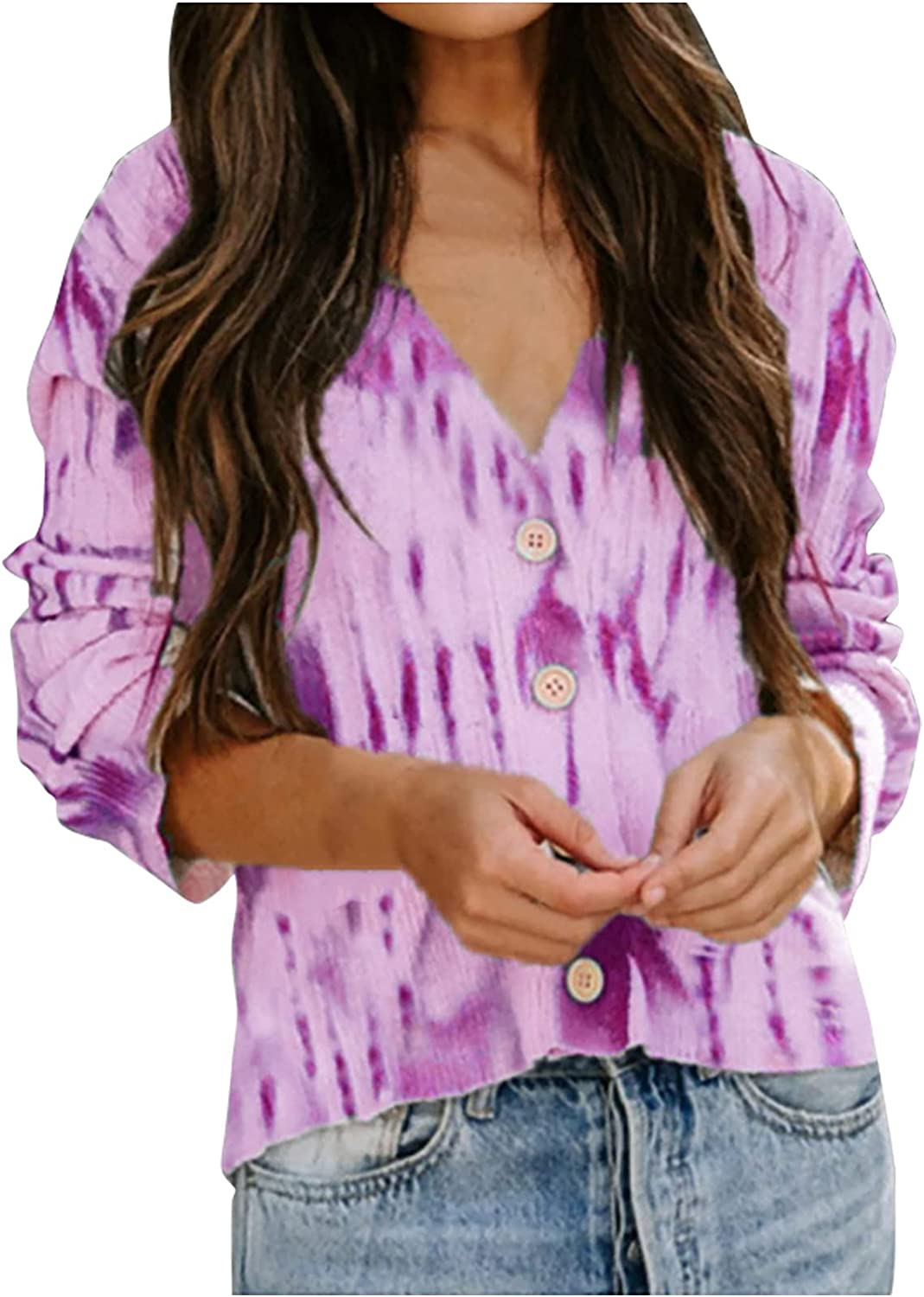 Blouses & Button-Down Shirts V-Neck Tie-dye Gradient Cardigan Open Front Loose Sweater Knit Long Sleeve Jacket