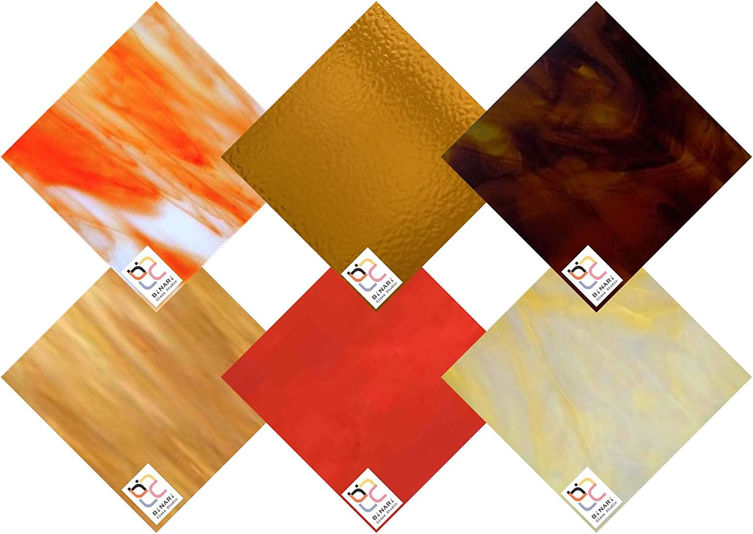Wissmach 6 Sheet Mixed Color Excellent Autumn Stained Variety Glass Pack Popular brand