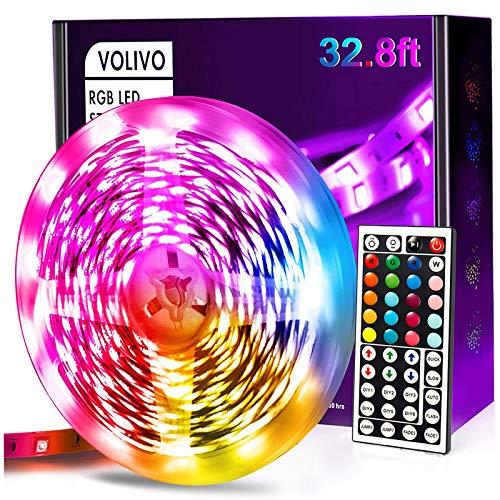 Volivo 32.8ft Led Strip Lights, RGB Color Changing Led Lights for Bedroom with 44 Keys Remote for Room, Party, Home Decoration