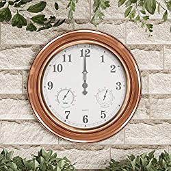 "Pure Garden 50-LG1223 Patio Wall Clock Thermometer-Indoor/Outdoor Decorative 18"" Quartz Battery-Powered Waterproof, Temperature & Hygrometer Gauge (Copper)"
