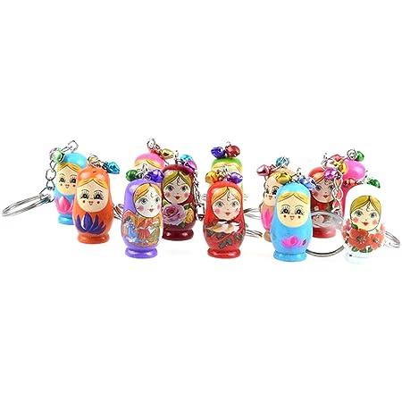 12pcs Creative Wooden Russian Matryoshka Keychain Car Handbag Ornaments SS6