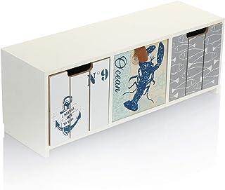 com-four® Mini cajonera con 3 cajones - gabinete de Madera con diseño marítimo - Mini gabinete para Guardar Joyas cosméti...