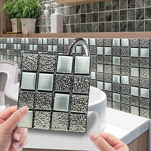 Juego de 10 adhesivos para azulejos en 3D, diseño de mosaico, resistente al agua, decoración para azulejos de pared para cocina, baño, 10 cm x 10 cm