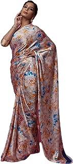 Indian Designer Digital Print Sari Soft Satin Crepe Shiny Formal Cocktail Saree Blouse 6078 3