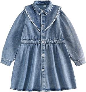 Sponsored Ad - QQBBGL Little Girls Princess Denim Dresses Kids Children Long Sleeves Skirts Toddler Dress Jacket Overcoat
