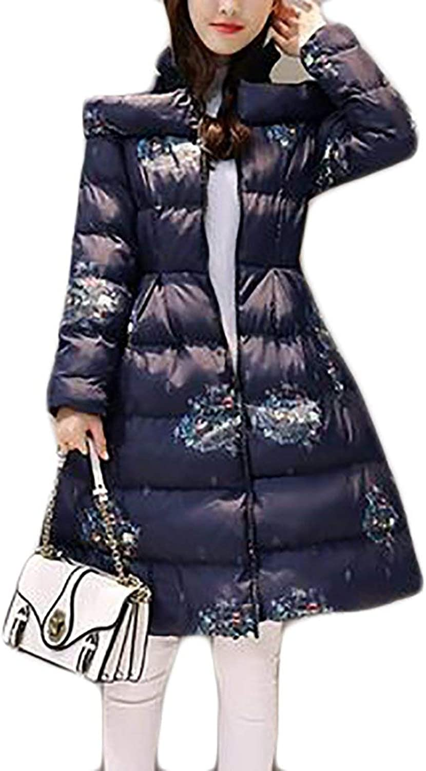 Alion Womens Winter Stand Collar Print Swing Midlength Puffer Down Cloak Jacket