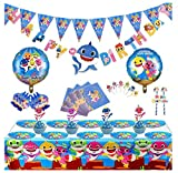Magichui Conjunto de 115 Piezas Shark Party Supplies Set, Shark Baby Birthday Decoration, Shark Party Decoration, Children Carnival Party Supplies Decoration (Azul)