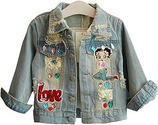 Verypoppa Little Girls Denim Jacket Cartoon Embroidery Distressed Jean Coat Outwear Top