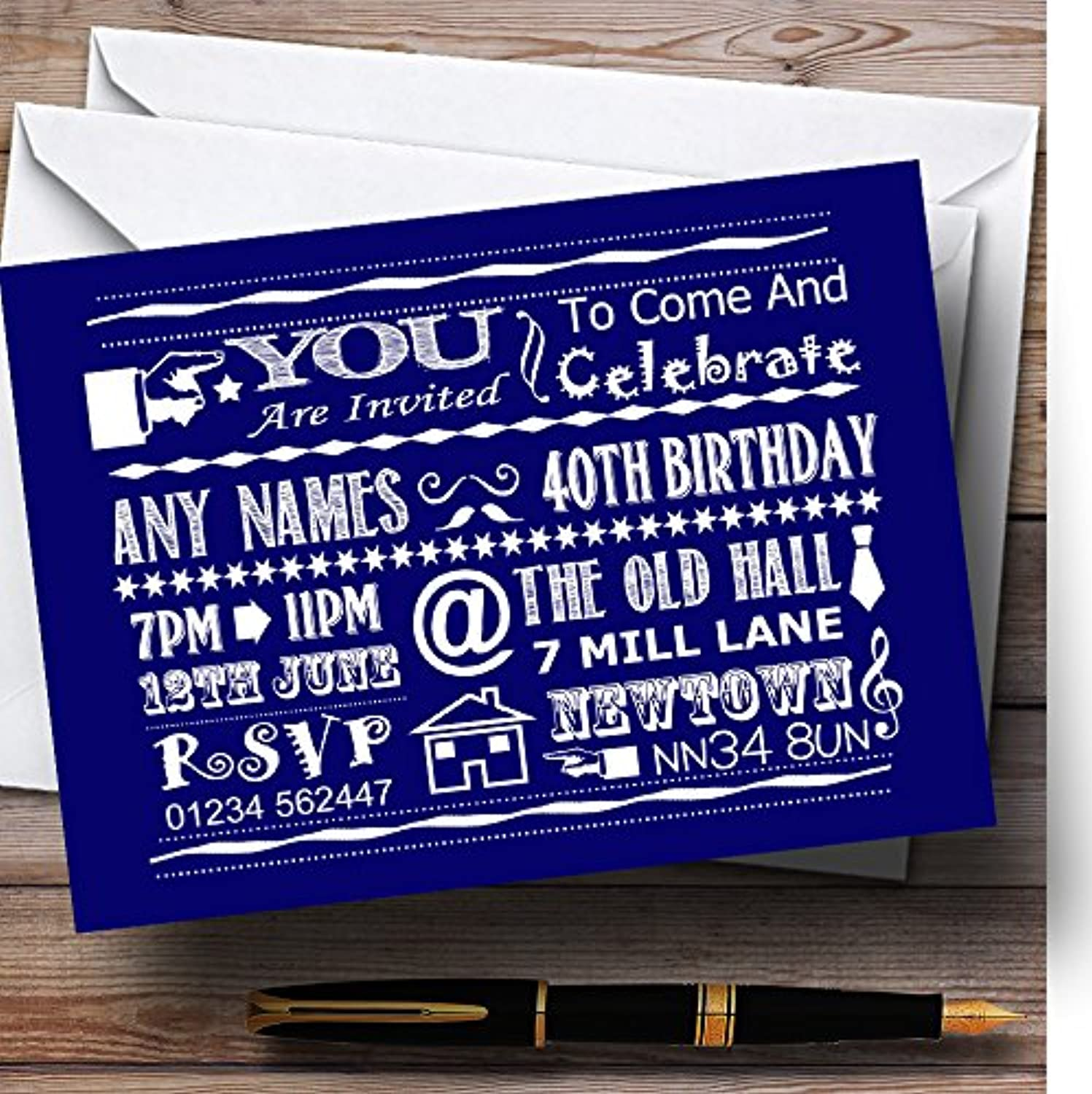 Cool Vintage Fun Chalk Typography Navy bluee Personalised Birthday Party Invit...