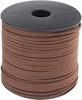 Wobe 100 Yards Suede Cord, Leather Cord 2.6mm x 1.5mm Suede Lace Faux Leather Cord with Roll Spool for Bracelet Necklace Beading DIY Handmade Crafts Thread (Coffee 1 roll)
