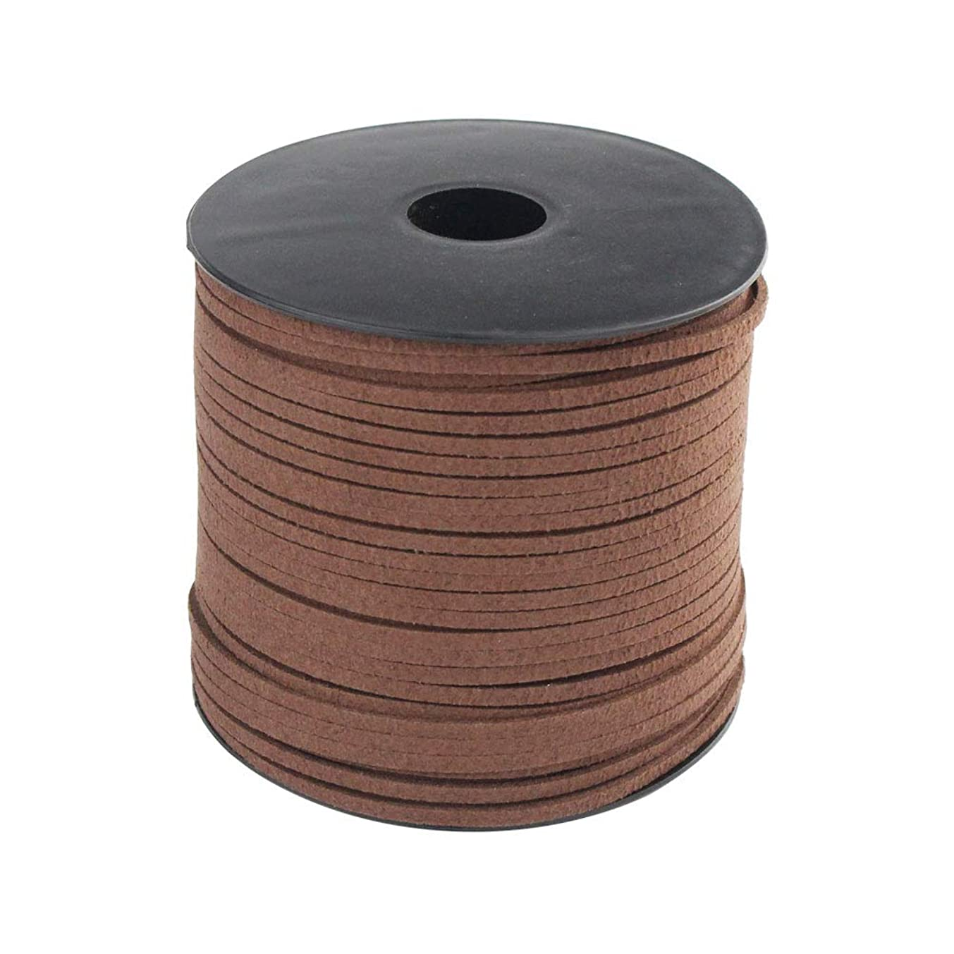 Wobe 100 Yards Suede Cord, Leather Cord 2.6mm x 1.5mm Suede String Lace Faux Leather Cord with Roll Spool for Bracelet Necklace Beading DIY Handmade Crafts Thread String (Coffee 1 roll)