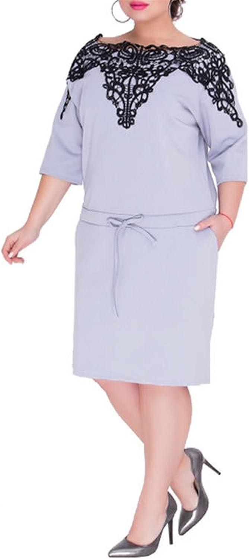 Plus Size L-6Xl Women Summer Elegant Ol Lace Dress Midi Casual Sexy Pockets Dress