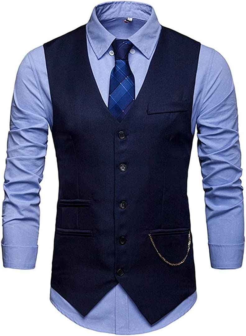 Ciystekn Mens Slim Fit Single Sleeveless Fashion Wais Suit Breasted Vest Max 41% OFF