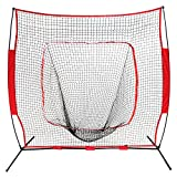 ZENY 7'×7' Baseball Softball Practice Net Hitting Batting Catching Pitching Training Net w/Carry Bag & Metal Bow Frame, Baseball Equipment with Carry Bag