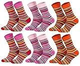 Tobeni 6 Paar Kindersocken Ringel mit Frotteefutter Thermo Socken für Jungen & Mädchen bunt orange Farbe 2x Rot 2x Pink 2x Terrakotta Grösse 27-30