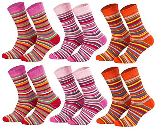 Tobeni 6 Paar Kindersocken Ringel mit Frotteefutter Thermo Socken für Jungen und Mädchen bunt orange Farbe 2x Rot 2x Pink 2x Terrakotta Grösse 27-30