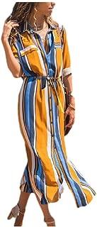 RkYAO Women's Long-Sleeve Polo Vertical Stripes Single-Breasted Chiffon Maxi Dresses