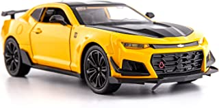 BDTCTK 1/24 Camaro Bumblebee Car Model Toy Zinc Alloy Casting Pull Back Car Sound and Light Toys for Kids Boy Girl Gift (Yellow)