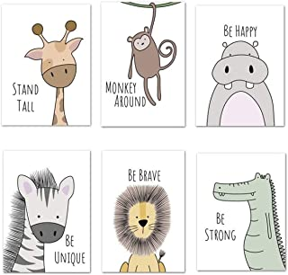 6 Pack Pictures Animals Nursery Baby Room Decoration Picture Boy Girl Poster Forest Animals Safari Africa Animals Poster D...