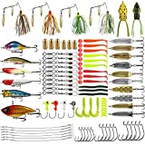 Magreel Fishing Lures Kit 110pcs/120pcs/262pcs Fish Baits Kit Set with Tackle Box Including Crankbaits Swimbaits Spinnerbaits Swivels Fishing Offset Hooks for Bass Trout Salmon