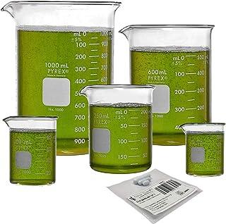 فرم کم Corning PYREX # 1000 Griffin ، مجموعه شیشه شیشه ای با ستون نوار مغناطیسی - 5 اندازه - 50 ، 100 ، 250 ، 600 و 1000ml