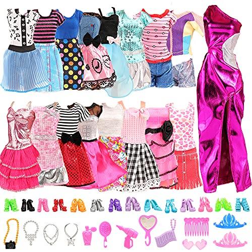 Miunana 33 Item = 10 Kleider + 10 Paar Schuhe + 13 Zubehör, Röcke Puppenzubehör Outfit Kleidung für 11,5 Zoll Mädchen Puppen