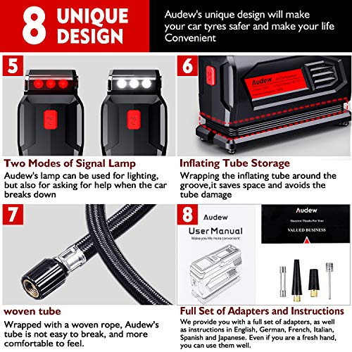 Audew Air Compressor Tire Inflator - 12V Heavy Duty Portable Wheel Air Pump for Car Tires - The Most Durable and Reliable Auto Companion, Suitable for Car, SUV, Pickup, Motorcycle, Sports Balls