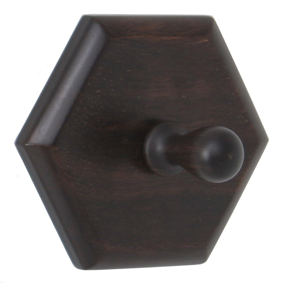 理想的バスケットボール正確さ不二貿易 靴べらかけ 六角型 小 ダークブラウン 木製 黒檀 78423