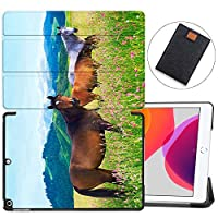 """MAITTAO Case Fit New iPad 10.2"""" / iPad 7th Generation 2019 Case, Trifold Stand Hard Back Shell Smart Cover for iPad 10.2 inch (A2197 A2198 A2200) Tablet Sleeve Bag 2 in 1 Bundle, Akhal-Teke Horse 3"""