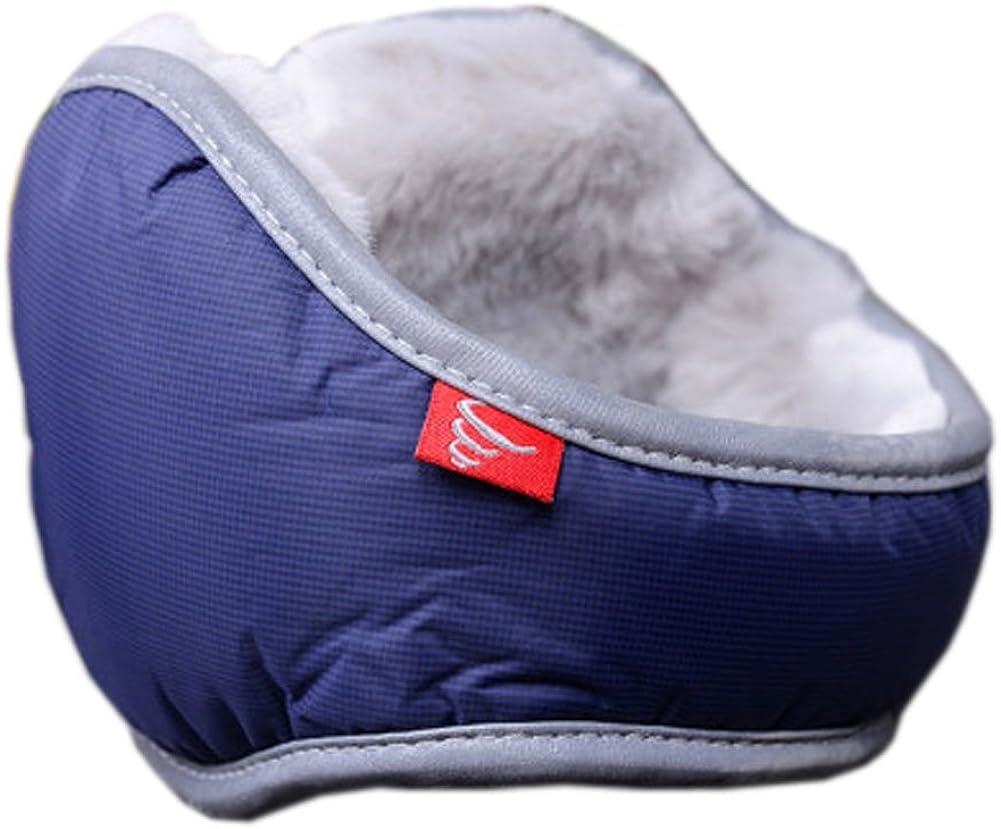 Warm Plush Ear Warmer Foldable Earmuffs for Outdoor Skiing, Dark Blue