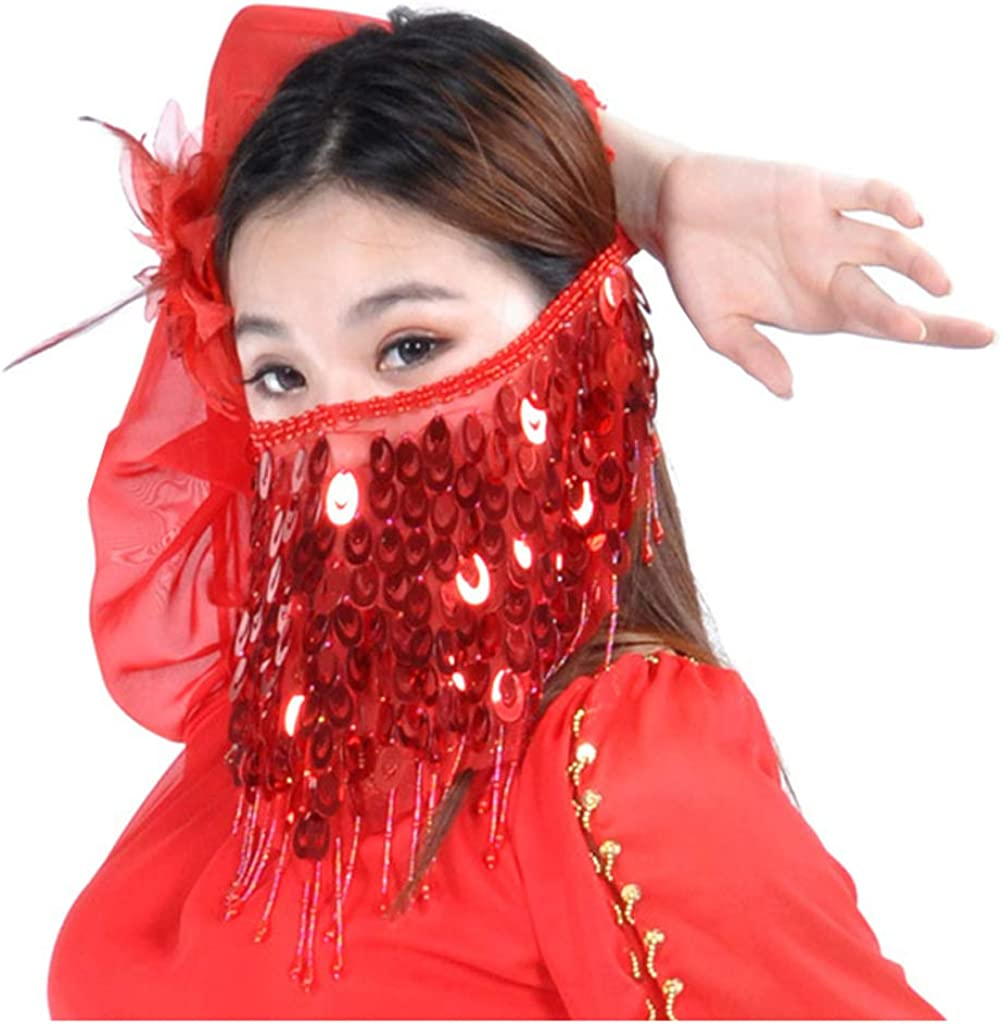 MUNAFIE Belly Dance Face Veil Scarf Trible Egyptian Mask Halloween Accessories