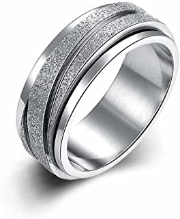 JAJAFOOK 8MM Unisex Stainless Steel Finger Spinner Gear Silver Brushed Matte Rings,Wedding Rings