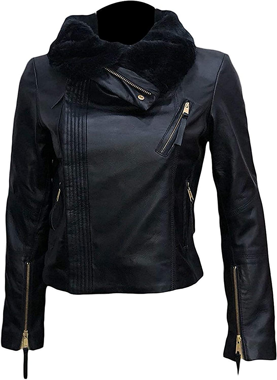 Women's Gal Gadot Wonder Woman Black Leather Biker Jacket