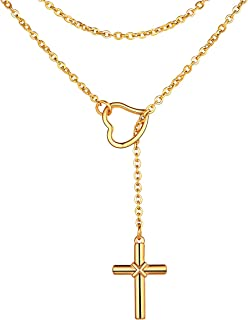 FOCALOOK Customized Lariat Necklace, Looped Long Lariat Y Bar ▏Lock ▏Cross ▏Heart ▏Italian Horn Pendant Layered Necklace P...
