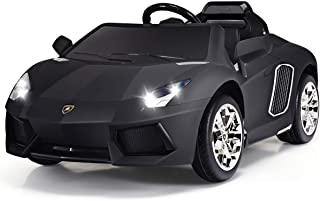 Costzon Kids Ride On Car, Licensed Lamborghini 12V Battery Powered Vehicle w/ Remote Control, 3 Speeds,LED Lights, MP3 Player (Black)