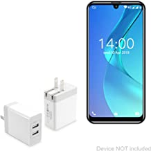 Oukitel C16 Charger, BoxWave [Dual High Current Wall Charger] 2 USB Port Rapid Wall Charger for Oukitel C16 - White