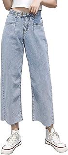 Pantalones Vaqueros de Pierna Recta Sueltos de Cintura Alta para Mujer Pantalones de Mezclilla de Pierna Ancha Regulares c...