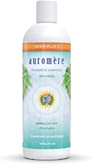 Auromere Ayurvedic Shampoo, Neem + 5 - Vegan, Natural, Sulfate Free, Paraben Free for Normal to Oily Hair (16 fl oz), 1 Pack