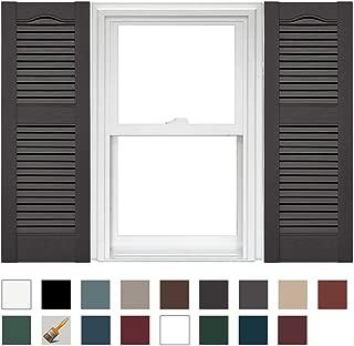 Mid America Cathedral Open Louver Vinyl Standard Shutter (1 Pair) - 14.5 x 52 018 Tuxedo Gray