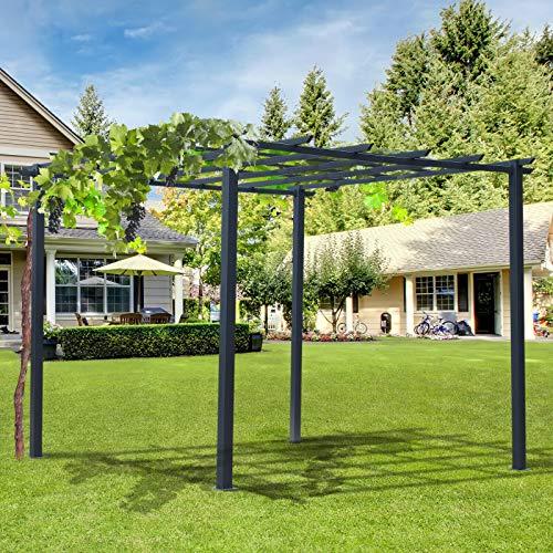HUIJK 3x3(m) Metal Pergola Grape Trellis Climbing Plants Outdoor Sun Shelter Arbours
